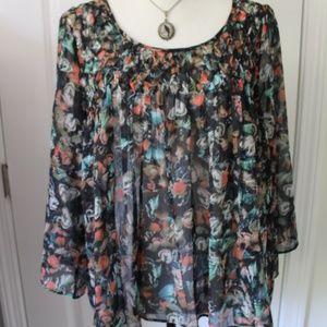 Dark Rustic Boho Floral Semi Sheer Top Sz XL NWOT